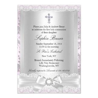 Pretty Bow Cross First Communion Purple 13 Cm X 18 Cm Invitation Card