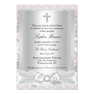Pretty Bow Cross First Communion Purple Card