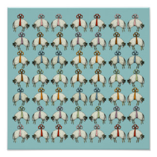 Pretty Bow Sheep CHANGE COLOR~ Gift Wrapping Paper Print