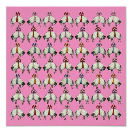 Pretty Bow Sheep CHANGE COLOR~ Gift Wrapping Paper Posters