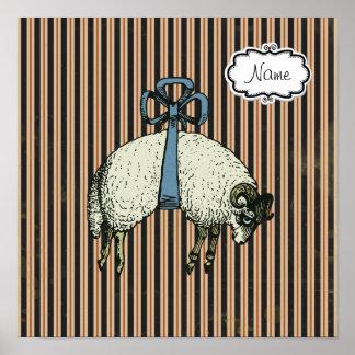 "Pretty Bow Sheep DESIGNER OPTIONS ~ Poster 13.25"""