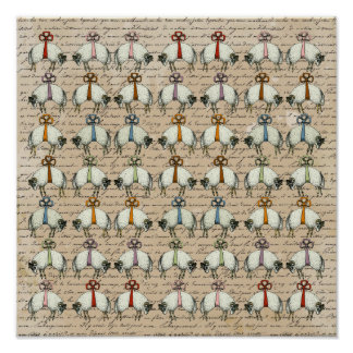 Pretty Bow Sheep ~ Gift Wrapping Paper 13.25x13.25 Poster