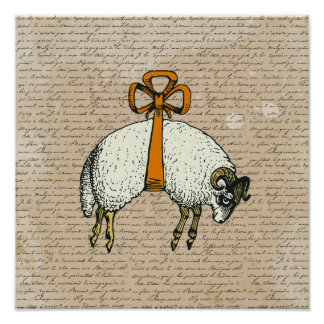Pretty Bow Sheep ~ Poster 13.25x13.25