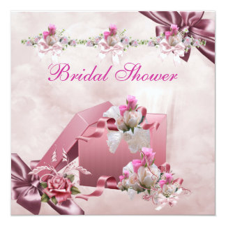 Pretty Bridal Shower White Pink Gift Floral Rose Card