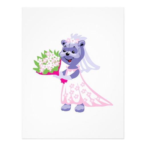 pretty bride bear with bouquet flyer