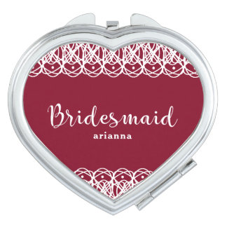 Pretty Bridesmaid with Name Red and White Makeup Mirrors