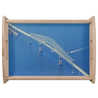 Pretty Bridge Over Blue Water Serving Tray