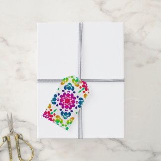 Pretty Bright Colorful Rainbow Floral Design Gift Tags