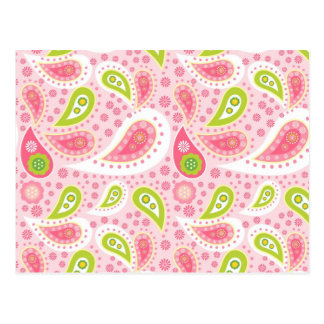 Pretty Bright Pink and Lime Green Paisley Pattern Postcard