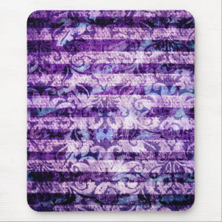 Pretty Bright Purple Floral Striped Pattern Mouse Pad