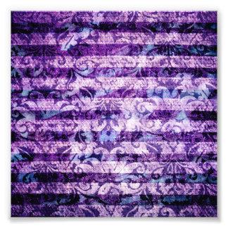 Pretty Bright Purple Floral Striped Pattern Photograph