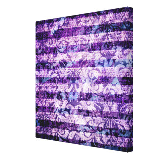 Pretty Bright Purple Floral Striped Pattern Stretched Canvas Prints