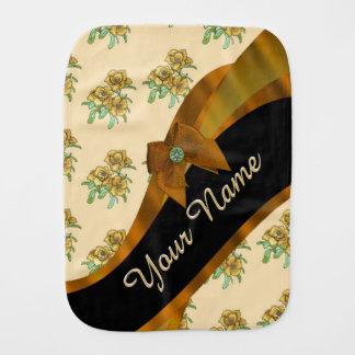 Pretty brown and beige  vintage floral pattern burp cloth