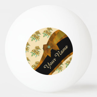 Pretty brown and beige  vintage floral pattern ping pong ball