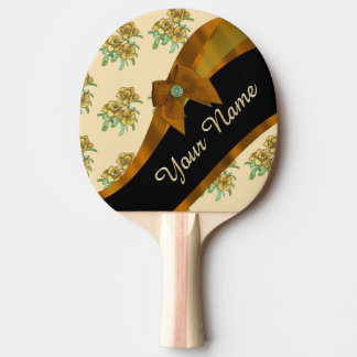 Pretty brown and beige  vintage floral pattern ping pong paddle