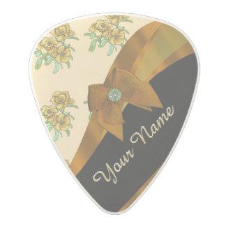 Pretty brown and beige  vintage floral pattern polycarbonate guitar pick