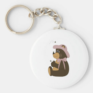 Pretty Brown Bear With Bees Key Chains
