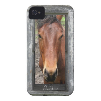 Pretty Brown Horse, Customize name iPhone 4 Case-Mate Cases