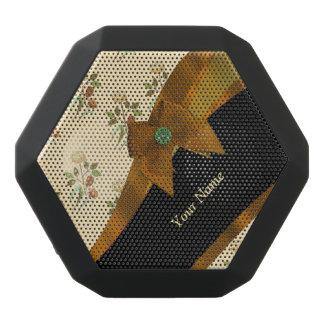 Pretty brown vintage floral flower pattern black bluetooth speaker