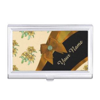 Pretty brown vintage floral flower pattern business card holder