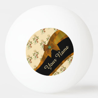 Pretty brown vintage floral flower pattern ping pong ball