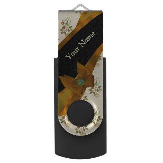Pretty brown vintage floral flower pattern USB flash drive