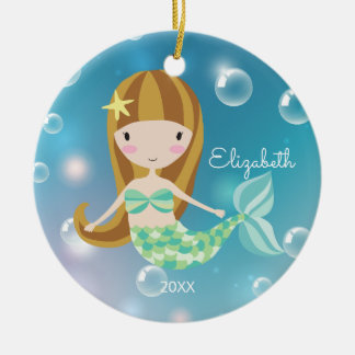 Pretty Brunette Mermaid Personalized Christmas Christmas Ornament