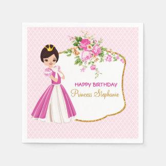 Pretty Brunette Princess Birthday Paper Napkins Disposable Napkin