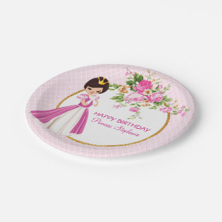Pretty Brunette Princess Birthday Paper Plate