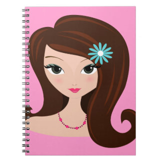Pretty Brunette with Daisy Notebook