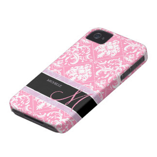 Pretty Bubblegum Pink and white damask w/ monogram iPhone 4 Covers