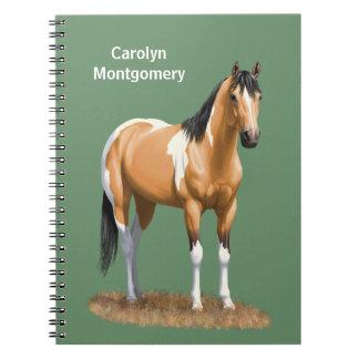 Pretty Buckskin Paint Horse Spiral Note Books