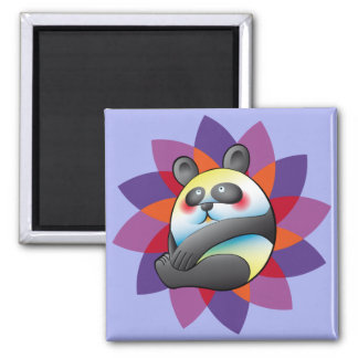 Pretty bulging bear and colorful flower square magnet