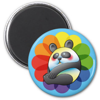 Pretty bulging bear and multicoloured flower 6 cm round magnet