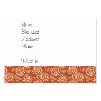 Pretty Burnt Orange Floral Pattern Gifts for Her Pack Of Chubby Business Cards