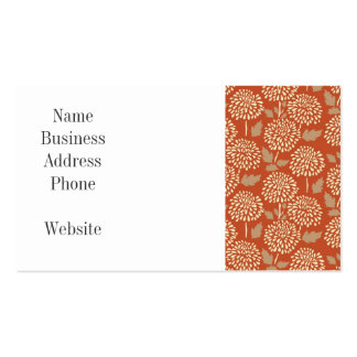 Pretty Burnt Orange Floral Pattern Gifts for Her Pack Of Standard Business Cards