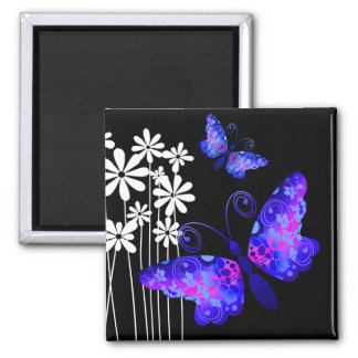 """Pretty Butterflies"" (indigo) by Cheryl Daniels Refrigerator Magnet"