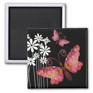 """Pretty Butterflies"" (mauve) by Cheryl Daniels Square Magnet"