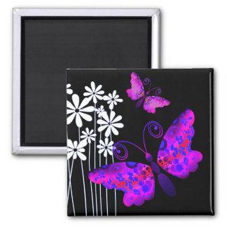"""Pretty Butterflies"" (purple) by Cheryl Daniels Square Magnet"