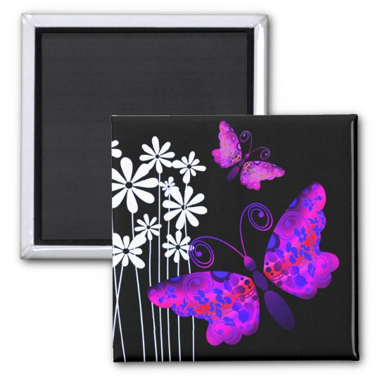 """Pretty Butterflies"" (purple) by Cheryl Daniels Square Magnet"