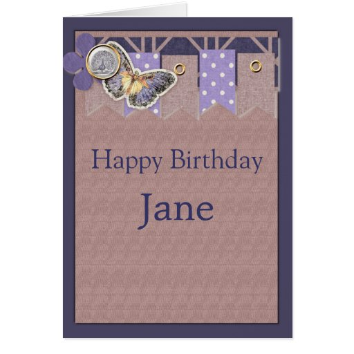 Pretty Butterfly Banner Birthday Greeting Cards