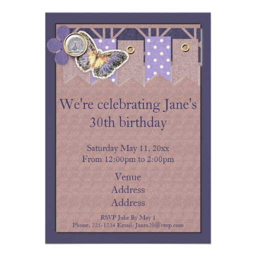 Pretty Butterfly Banner Birthday Custom Announcement