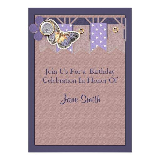 Pretty Butterfly Banner Birthday Custom Invitation