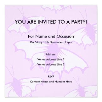 Pretty Butterfly Design in Pastel Purple. 13 Cm X 13 Cm Square Invitation Card
