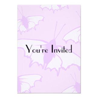 Pretty Butterfly Design in Pastel Purple. 13 Cm X 18 Cm Invitation Card