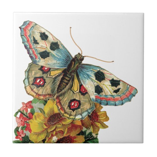 Pretty Butterfly Floral Ceramic Tile