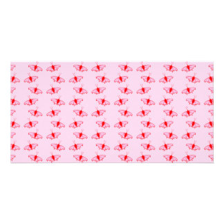 Pretty Butterfly Pattern in Pink and Red Photo Card