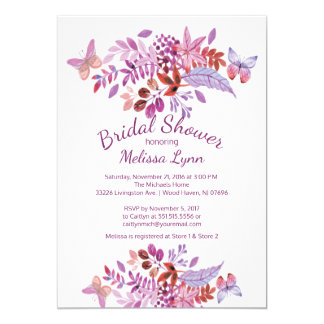 Pretty Butterfly Purple Floral Bridal Shower Card