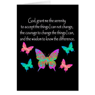 PRETTY BUTTERFLY SERENITY PRAYER DESIGN GREETING CARD