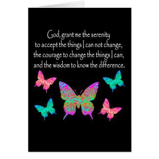 PRETTY BUTTERFLY SERENITY PRAYER DESIGN GREETING CARD